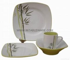 Two-tone glaze bamboo design