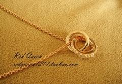 925纯银镀玫瑰金镶钻圈圈项链