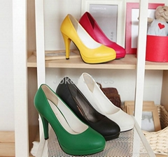 High heel fashion office ladies Colorful PU Office ladies working Shoes