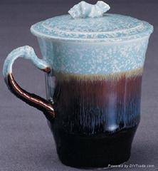 乾唐軒活瓷天目彩釉(綠)小竹節杯1入
