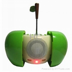 Apple Shaped USB Speaker with MP3 Player and Radio