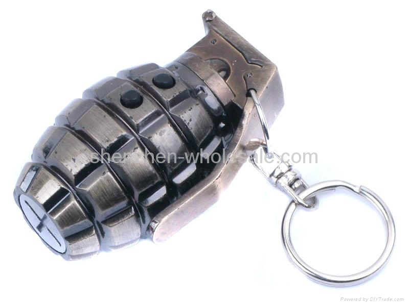 3 in1 Laser And LED Hand Grenade Shaped Keychain 2