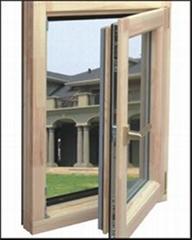 wood with aluminum cladding casement window