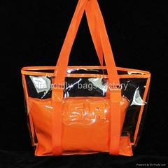 新款pvc女包,透明膜包中包,購物袋,沙灘包