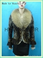 leather and fur jacket with fox collar