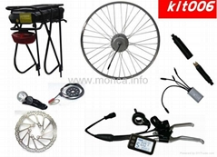 Electric bicycle conversion kit with rear rack battery