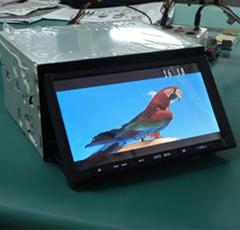 全新7寸双定下滑式车载DVD影音一体机,触摸娱乐影音一体机