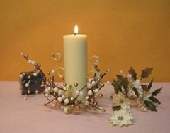 pillar candle with its decoration