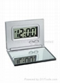 Folding LCD clock with mirrow