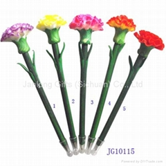 Corporate Gift Handicraft Polymer Carnation Flower Ball Point Pens Garden Stake