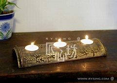 interior decoration furnish candle holder w/ sculpturesque lucky flower