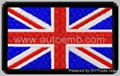 hot cut edge embroidery patch with velcro, embroidery flag, UK flag 1