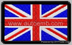 hot cut edge embroidery patch with velcro, embroidery flag, UK flag
