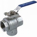 3-way vertical ball valve with mounting pad ISO5211