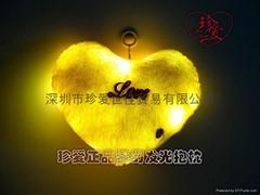 珍愛發光抱枕,金黃色,溫暖之心