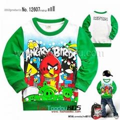 西松屋卡通Angry Birds愤怒的小鸟女童装长袖T恤