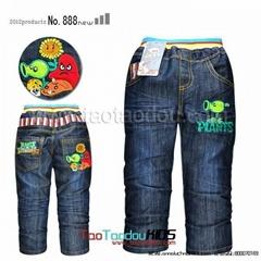 卡通植物大戰殭屍儿童牛仔長褲