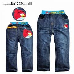 卡通Angry Birds儿童牛仔裤