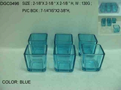 glass square spray color candle holder