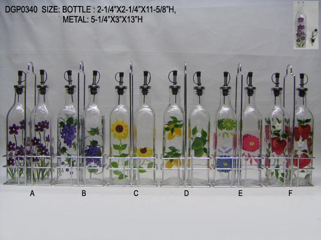 玻璃手绘油瓶配铁架