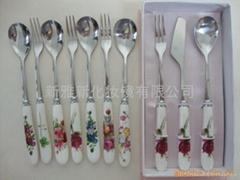 不锈钢陶瓷餐具刀叉勺