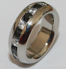 Stainless steel ring with CZs