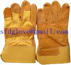 yellow leather working glove