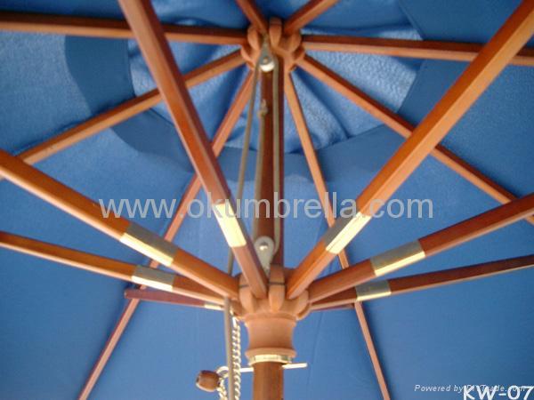 Patio Umbrella Beach Sun Wooden Strong Umbre 4