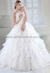 Organza Strapless Ball Gown Elegant Wedding Dress WD-3572