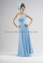 Chiffon One-Shoulder Sweetheart Empire Long Bridesmaid DressBK-0261