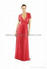 Chiffon V-Neck Empire Long Bridesmaid Dress BK-309
