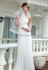 Chiffon One-Shoulder Column Destination  Wedding Gown Bridal Dress WD-3525