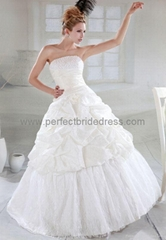 Taffeta Strapless A-Line Simple Wedding Gown Bridal Dress WD-3523