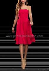 Chiffon Strapless A-Line Short Bridesmaid Dress Wedding Gowns P-3374