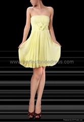 Chiffon Strapless A-Line Short Bridesmaid Dress Wedding Gowns P-3361