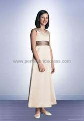 Satin V-neck A-line Long Flowergirl Dress Bridemaid Gowns FL-0181