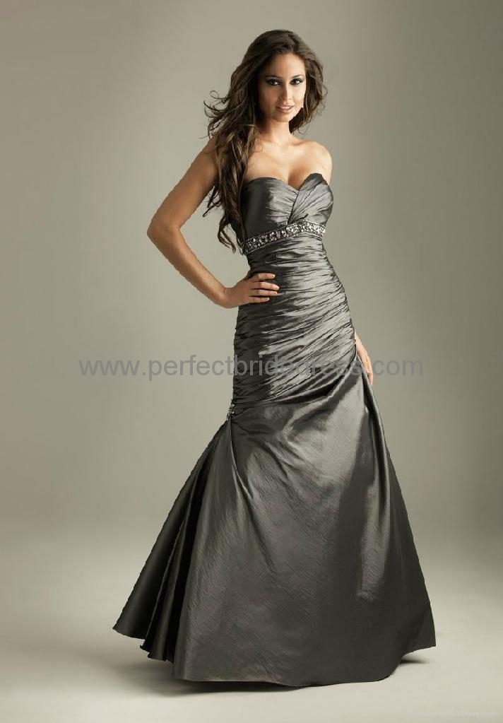 Charcoal Grey Mermaid Strapless Prom Dress