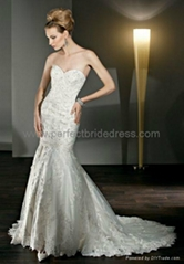 Lace and Tulle Strapless Sweetheart Mermaid 2 in 1 Wedding Dress WD-3904