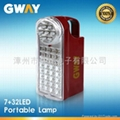 7+32 LED Rechargeable Lantern with 6V/4Ah Sealed Lead-acid Battery 1