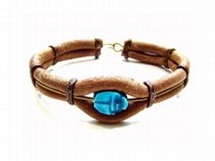 scarab leather bracelet