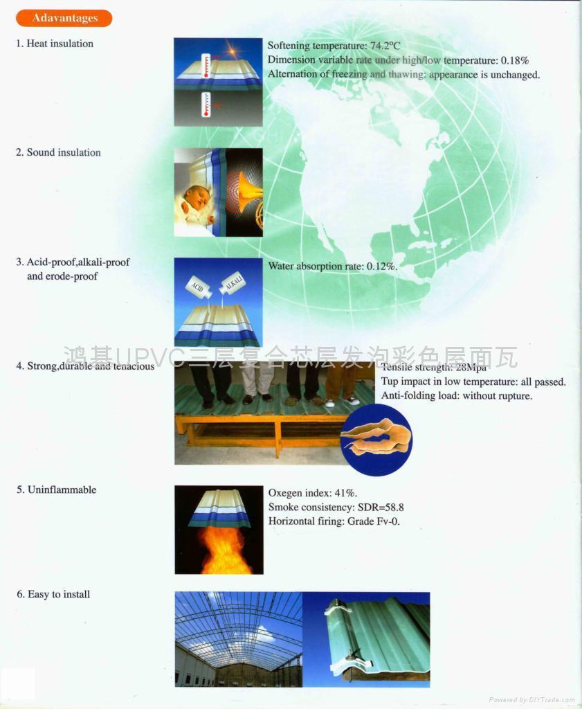 UPVC三層復合芯層發泡彩色屋面瓦(碳纖維瓦) 4