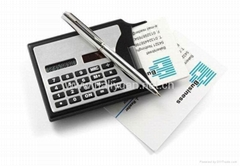 Solar calculator with business card holder and silver metal twist pen