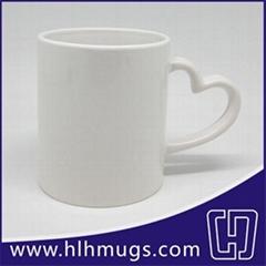11oz Sublimation Coated Mugs - heart-shaped