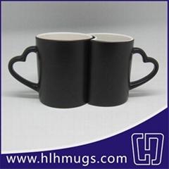 Color Changing Couple Mugs - heart-shaped / matte