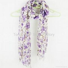 2011 新款 印花围巾 田园风格