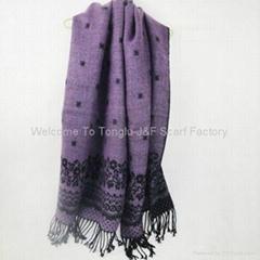 紫色提花腈綸圍巾