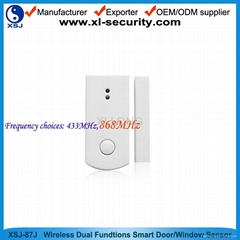 Wireless dual-functions smart door window sensor for alarm system