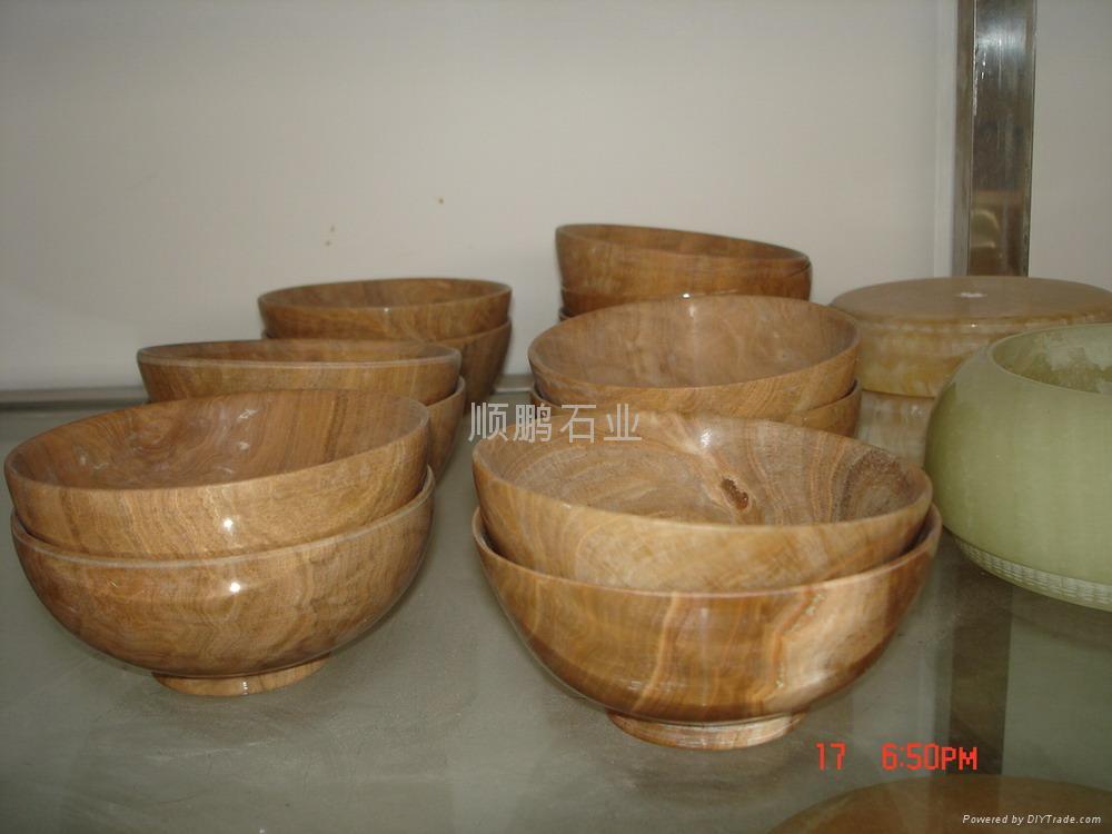 木纹黄大理石碗