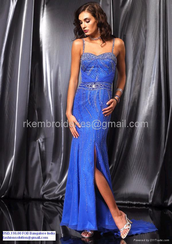 Blue Silk Evening Dresses