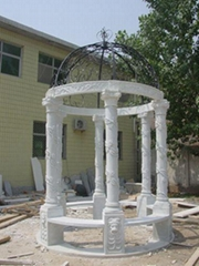 Hand carved marble gazebo stone sculpture